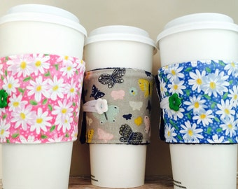 Coffee Cup Cozy, Mug Cozy, Coffee Cup Sleeve, Cup Cozy, Cup Sleeve, Reusable Coffee Sleeve - Butterfly Daisy [37-39]
