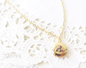 Tiny 14k Gold Plated Bee Locket - Bumble Bee Locket - Bumblebee - Gold Round Locket - Gold Bee Locket - Woodland - Flying Insect Locket