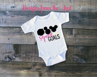 "Afro puffs ""Squad Goals"" baby bodysuit, black girl magic"