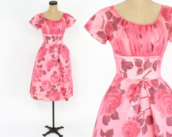 50s Party Dress | Bright Pink Floral Print Party Dress | Rose Flower New Look Prom Dress | Extra Small