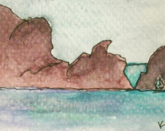 California Plein Air Painting Rodeo Beach Marin Headlands Aceo Artist Trading Card Kathleen Daughan Art Small Painting California Dreamin