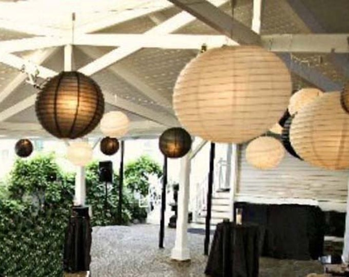 Featured listing image: 9x White & Black Paper Lanterns with LED Bulbs for Wedding Engagement Anniversary Birthday Party Hanging Lighting Decoration