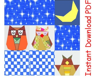 Owl Family pack PDF quilt paper pieced Sewing Pattern INSTANT DOWNLOAD