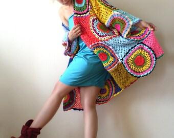 Plus Size Clothing,Funky Cardigan, Women's sweater, Maternity clothing,xxl sweater, Oversized jacket, boho  hippy jumper