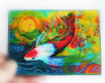 Splash, 2.50x3.50inches, miniature art, Aceo original, mixed media photograph, #Koi art #Tiny #Little gifts #gifts under 20 #Aceo originals