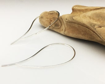Silver Curve Threader Earrings - (E489SS)  Hammered, Thread thrus, Open Hoops -wire jewelry by cristysjewelry on etsy