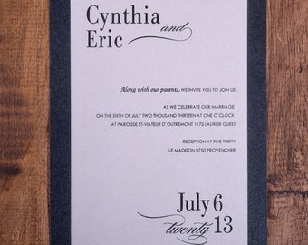 Black tie wedding Invitation, Formal Wedding Invitation, Formal Invitations, Wedding Invitations, formal invitations, black and white invite