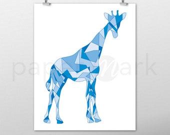 Giraffe Print, Giraffe Wall Art, Wall Decor, Giraffe Decor, Nursery Decor, Nursery Print, Nursery Art, Baby Shower, Blue Giraffe, Baby Room