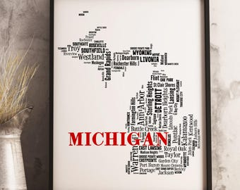 Michigan Map Art, Michigan Art Print, Michigan City Map, Michigan Typography Art, Michigan Wall Decor, Michigan Moving Gift