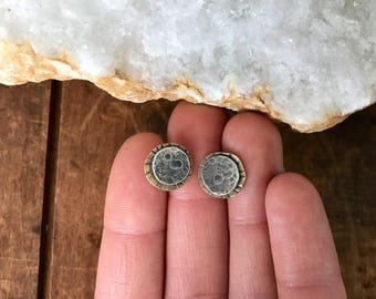 Silver Moon Eclipse Studs