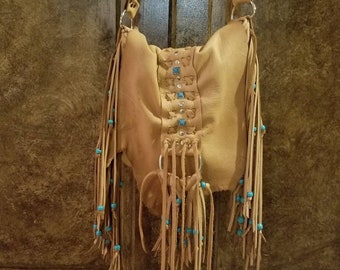 Boho Leather Fringe Bag, Deer Tan Leather Fringe Purse, Beaded Leather Fringe Bag, Turquoise Beaded Leather, Handcrafted  Leather, Hobo Bag