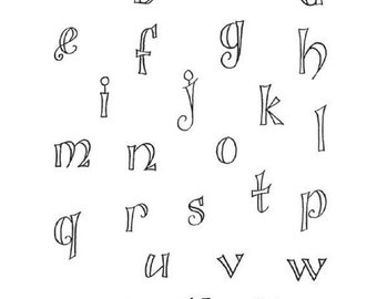 Stampington & Co Fanciful Outline Lower Case Alphabet Cling Rubber Stamp