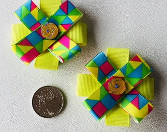 Fancy Ribbon hair bows on alligator clips, girls/toddler girls, irredescent jewelled centre, lemon yellow, multi colored geometric ribbon