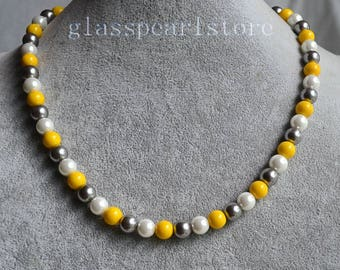 yellow gray white pearl Necklace, 8mm glass pearl bead Necklace, bridesmaid jewelry,single strand mixed white yellow gray color jewelery