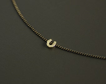 Gold Horseshoe Choker Style Necklace on Brass Chain