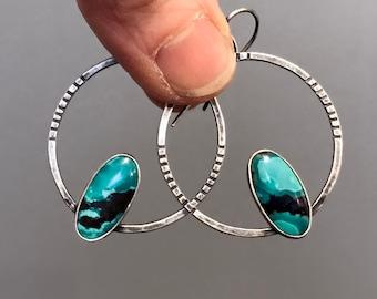 Turquoise Hoop Earrings, Hammered Silver Hoops, Gemstone and Sterling Hoops