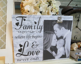 """Wood Picture Frame, """"Family...where life begins & Love never ends"""",  Family Picture Frame, Wedding Photo Frame, New Baby Frame"""