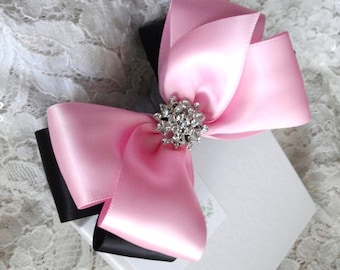 """Light Pink and Black Satin Hair Bow with Rhinestone Center, Black and Light Pink Flower Girl Hair Bow, 4"""" Hair Bow, Christmas Bow"""