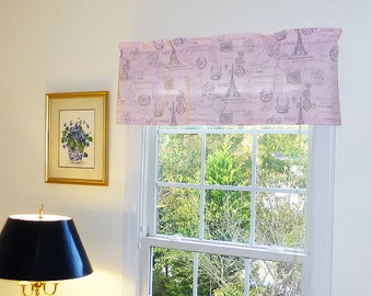 Made to Order Window Curtains, Grey Window Valance - Pink Window Curtains  - Grey Valances - Pink and Grey Window Valance 52 x 16