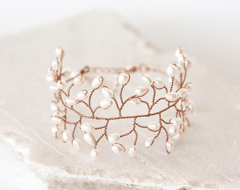 Natural pearl bracelet ivory, Bracelet wire, Bridal gold bracelet, Wedding beautiful bracelet, Natural white bracelet, Bridal jewelry 61