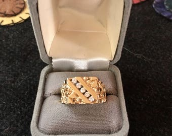 Vintage Men's Diamond Gold Nugget Ring