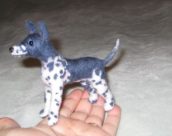 Needle Felted Dog by Artist GERRY / Rare Breed / AHT / Pebbles-American Hairless Terrier