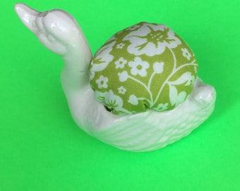 Pin Cushion White Swan on Green Modern Floral Fabric