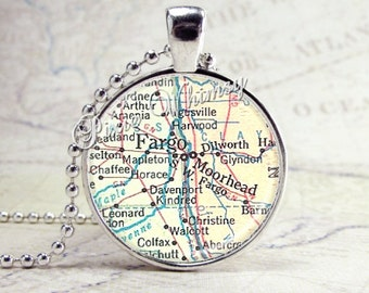 Fargo North Dakota Map Necklace Art Pendant Jewelry with Ball Chain, Moorhead North Dakota