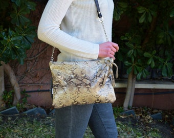 Leather bag,leather clutch,leather purse,snake clutch,printed clutch,printed leather,snake leather clutch,brown leather clutch,pink snake