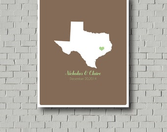 Guest Book - Personalized Any State Wedding Guest Book Texas Guest Book Texas Wedding Bridal Shower Personalized Poster Engagement Gift