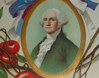 A/S Ellen Clapsaddle Portrait of George Washington and Cherries Antique Patriotic Postcard