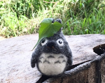 Needle felted Totoro, wool sculpture,  gift, home deco