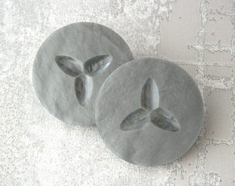 Large Gray Buttons, 34mm 1-1/4 inch - Silvery Slate Grey Coat Shank Sewing Buttons - 2 VTG NOS Carved Retro Modern Atomic Seed Buttons PL018
