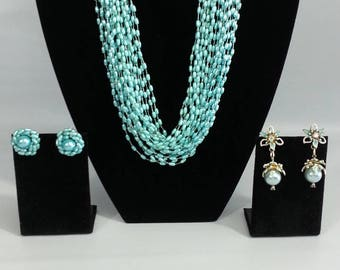 Vintage Aqua Necklace with Two Pairs of Earrings, Vintage Multi-Strand Necklace and Earrings Set