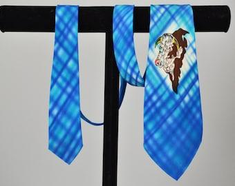 40s Necktie // 1940s Western Hand Painted Silk Cowboy Necktie