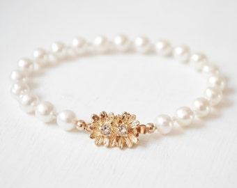 Gold Bridal Bracelet, Freshwater Pearl Wedding Bracelet, Gold Pearl Bracelet, Gold Wedding Jewelry