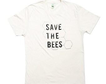 Mens - Save The Bees Tshirt - Unisex Bee Tee  - Organic Cotton - Small, Medium, Large, XL - Clothing