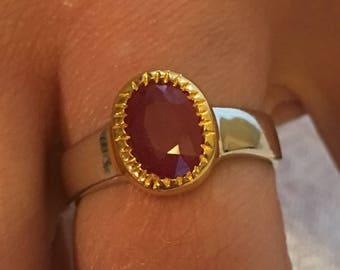 Sterling silver 925/1000 Ruby gemstone ring / size 57
