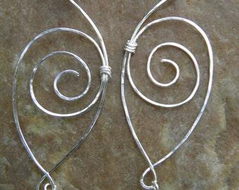 """Earrings... """"Wings"""" sterling silver hand wrapped earrings."""