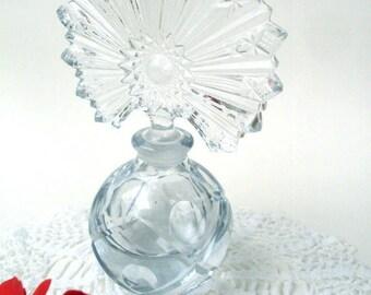 Vintage EAPG Perfume Bottle Hobstar Starburst Vanity Glass Bottle Ladies Boudoir Christmas Gift Holiday Present