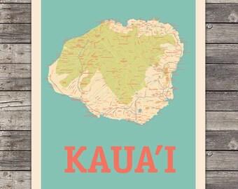 Island of Kauai, Hawaii Map 18 x 24 Print Wall Art