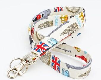 Cute Fabric ID Holder, UK Theme Lanyard, London Keychain, Fabric Neck Strap, English Teacher's ID lanyard - red blue London icons