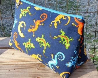 Makeup Bag, Navy Makeup Bag, Salamanders, Cosmetics Case, Makeup Case, Zipper Bag