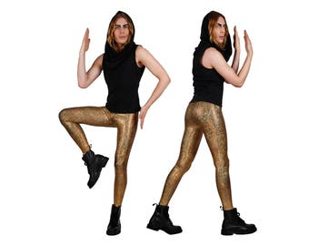 Mens Leggings in Gold, Holographic, Meggings, Festival Clothes Men, EDM Outfit, Ravewear, Futuristic Clothing, Burning Man, by LENA QUIST