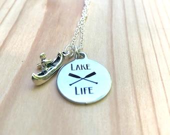 Lake life paddler sterling silver necklace
