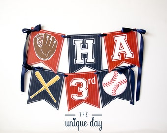 Baseball Birthday Banner - Happy Birthday Banner - Printable - Baseball Party Decorations - Baseball Birthday Party // BAS-09