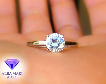 Blue Ice Moissanite | 1ct | 14kt | IN STOCK | Size 6