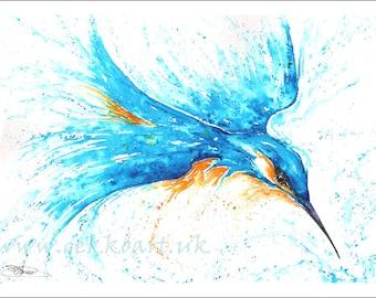 Kingfisher Print, Watercolour Painting Giclee Print Mounted print wall art
