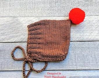 Knit Brown Pixie Bonnet with RED Pom Pom Hat For Fall and Winter Chunky available,  baby shower gift, Bonnet Kids apparel, newborn hats