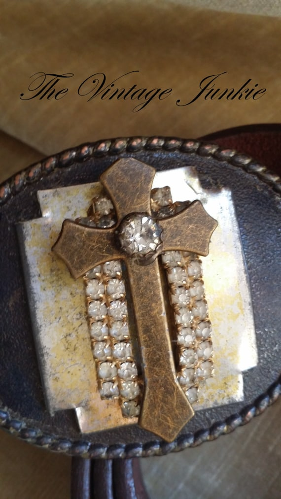Handmade Buckle and Belt with Distressed Leather and Vintage Metals.